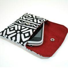 Tribal print mobile purse.