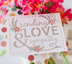 "Sending Love & Sympathy Card made with Cricut Explore, This project makes one 4 ¼"" x 5 ½"" card with coordinating envelope. Images are from the Cricut® Simple Everyday Cards and Cricut® Cherry Blossom Tree digital cartridges.  ❤ Shanon"