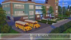 The Sims 4 - Request: High School My Sims, Sims Cc, Maxis, Sims 4 City Living, The Sims 4 Lots, Casas The Sims 4, Sims Building, Sims 4 Build, Sims 4 Game
