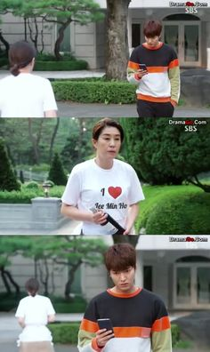 Heee is this real?'! So cute hahaha I would make the same face if I saw someone wearing a tshirt saying they loved me hahaXD