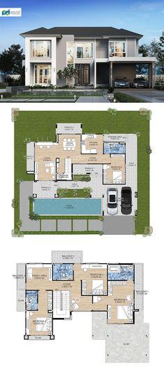 2 Storey House Design, Sims House Design, Model House Plan, House Plans, Planer, Home Remodeling, Sweet Home, Villa, Floor Plans