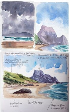 watercolor sketches and colour notes for a painting of a seascape and rocky headland step by step watercolour seascape tutorial. Painting a watercolour seascape of a beach with rocky headland. Join me as I break down the process Arches Watercolor Paper, Beach Watercolor, Watercolor Trees, Watercolor Background, Simple Watercolor, Tattoo Watercolor, Watercolor Animals, Watercolour Painting, Watercolor Art Landscape