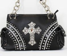 Black w/ rhinestone cross handbag perfect for your everyday use or on a special day! #bag #sale #style #bling