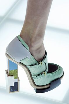 Pierre Hardy for Balenciaga - Light Green Platform Bootie with Architectural Heel
