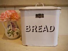 Vintage Enamel Bread Bin - Original Label by VintiqueTree on Etsy