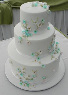 Sweet 3-Tiered Cake ~ small ornate flowers stemming from hand painted branches