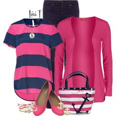 Navy & Pink by lkthompson on Polyvore featuring Influence, DKNY, AG Adriano Goldschmied, Aéropostale, Kate Spade, Eliot Danori, contest, anchor and navyandpink