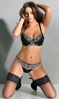 Black/White/ Lacy Stockings /Full Figure Bra & Sexy Sheer Panties