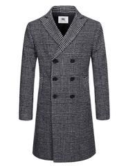 Check Pattern Peaked Lapel Coat 30% Wool / 30% Rayon / 40% Polyester 2 Hand Pockets 1 Inside Pockets 3-Button Double Breasted Single Vented...