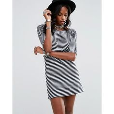 Free People Frenchy Stripe Tee Dress ($82) ❤ liked on Polyvore featuring dresses, black, boat neck dress, cut-out back dresses, stripe tee dress, tall dresses and slash neck dress
