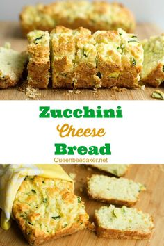 I LOVE this Zucchini Cheese Bread! It's delicious served warm with your favorite soup or casserole or by itself as a snack. The bread is moist on the inside and crisp on the outside. SO easy to make and just as yummy! #savory #savoryzucchinibread #zucchinicheesebread #cheeseyzucchinibread #zucchinibread #zucchini #zucchiniseason #savorybread #quickbread