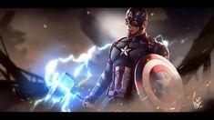 By Jason McLean of the Vagabond Nerds One of my favorite scenes in Endgame is Captain America wielding Mjolnir against Thanos, and judg. Marvel Vs Dc Comics, Marvel Art, Marvel Heroes, Avengers Poster, The Avengers, Steve Rogers, Bucky, Chris Evans, Caption America