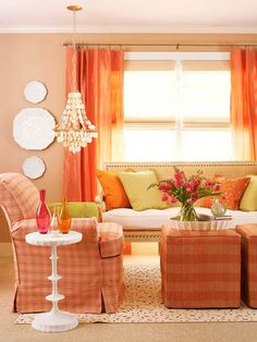 Possible color scheme to work with the peach wall color. Salmon with hints of green and pink.