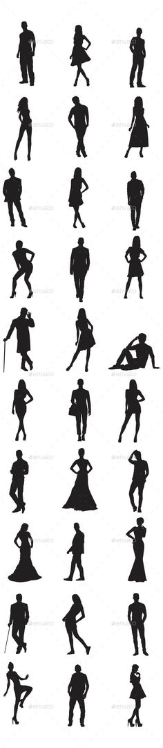 People Silhouettes . In this files include AI and EPS versions. You can open it with Adobe Illustrator CS and other vector support