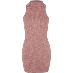 High Neck Bodycon Dress by Glamorous Petites (£20) ❤ liked on Polyvore featuring dresses, rust, topshop dresses, body con dress, red cocktail dress, topshop and bodycon pencil dress