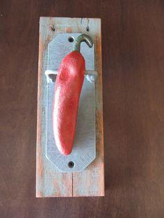 Restored Cast Iron Chili Pepper Door Knocker Very by RedeemWood