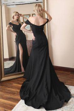 Mermaid Evening Dresses Off Shoulder Black Split Slit Formal Prom Dresses H4002 by Fashiondressy, $148.50 USD