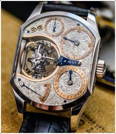 I've never seen this one before. Aaron Becsei Unfortunately. The Primus Triple Axis Tourbillon designed by Aaron Becsei a very talented hungarian horologist pic by by watchfeed Best Watches For Men, Amazing Watches, Fine Watches, Luxury Watches For Men, Beautiful Watches, Sport Watches, Cool Watches, Unique Watches, Women's Watches