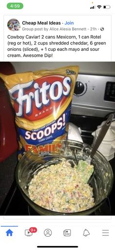 Fritos Corn Chips, Creole Cooking, Cowboy Caviar, Cheap Meals, Green Onions, Pop Tarts, Sour Cream, Cheddar