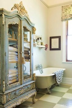 If your bathroom is too ordinary and want the antique, a good way to do is put the panelling panels wall. Then you can add shelves with brackets or even worked in wrought iron. And