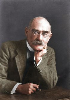 Rudyard Kipling, by Elliott & Fry (Cassowary Colorizations) // Kipling was an English journalist, short-story writer, poet, and novelist. He was born in India, which inspired much of his work // source: wikipedia Colorized History, Story Writer, Writers And Poets, If Rudyard Kipling, Playwright, Historical Pictures, Special People, Book Of Life, Portrait Photo