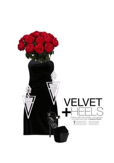 'Velvet + Heels' by me on Limeroad featuring Black Sandals, Non Precious Silver Earrings with Solids Black Dresses