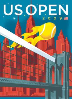 paulrogersstudio Posters Poster for 2009 US Open Tennis Championships in New York City. Illustration and graphic design studio of Paul Rogers Tennis Posters, Sports Posters, Vintage Tennis, Photocollage, Us Open, Sport Photography, Illustrations, Business Design, Travel Posters