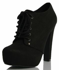 Black Faux Suede Lace Up Platform HIgh Heel Ankle Boots Spin Imsu 7