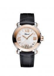 5e476a9fcd9 Chopard Watch Happy Sport 36 MM Watch rose gold and diamonds
