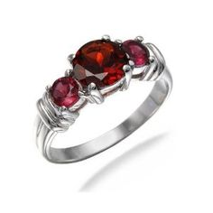 1.75 CT Three-Stone Natural Garnet Ring In Sterling Silver In Size 7 - $25