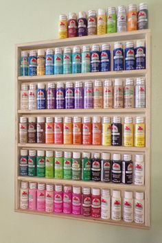 Craft paint rack, paint storage, arts and crafts, acrylic paint storage, artist paint Acrylic Paint Storage, Craft Paint Storage, Paint Organization, Art Storage, Art Supplies Storage, Art Studio Storage, Scrapbook Room Organization, Storage Room Organization, Arts And Crafts Storage
