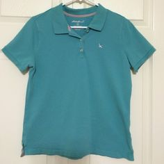 Polo shirt Gently used sea foam blue polo. No snags or stains on the fabric. 96% cotton & 4% spandex. Eddie Bauer Tops Tees - Short Sleeve
