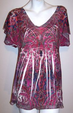 Apt 9 Top XL Paisley Rhinestone Sublimation Stretch Knit Casual Shirt Blouse XL #Apt9 #KnitTop #Casual
