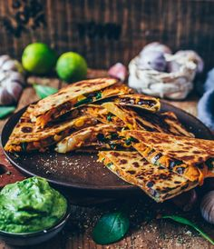 These easy Vegan Sweet Potato Quesadillas loaded with blacks bean, corn and dairy-free cheese make a perfect quick meal or snack. They're gluten-free, healthy, flavorful, cheesy and very simple to make. Sweet Potato Quesadilla, Sweet Potato Tacos, Sweet Potato Recipes, Quesadillas, Vegan Foods, Vegan Recipes, Mexican Food Recipes, Whole Food Recipes, Baked Avocado