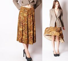 Brown Paisley Vintage Fall Midi Skirt / Vintage Skirt by aiseirigh, $52.00