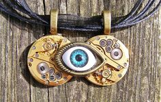 Golden Eye  Steampunk Pendant Necklace Handmade Arts and Craft, by ArtandThingsUK on Etsy