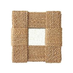 Rope has been neatly woven to craft this unique frame that's as cool as an ocean breeze. The bold block pattern adds detailed interest to any space and further enhances whatever picture you place in it... Find the Rope Weave Picture Frame, as seen in the New England Chic Collection at http://dotandbo.com/collections/new-england-chic?utm_source=pinterest&utm_medium=organic&db_sku=CBK0184