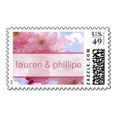 Pink Cherry Blossom Floral Wedding Stamps