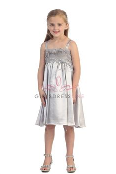 Gray/silver Rosebud Accented Short Flower Girl Dress KD-283-GS2 on www.GirlsDressLine.Com