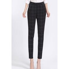 Yoins High Waist Checked Tapered Trousers (40 CAD) ❤ liked on Polyvore featuring pants, black, high waisted wide leg trousers, zipper pants, wide-leg pants, high-waisted trousers and high-waisted pants