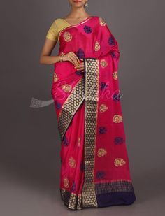 Shipra Bold Color Motifs Ornate Border Pure #MysoreChiffonSaree