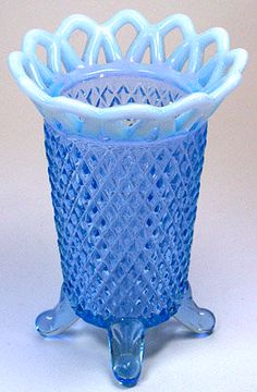 Laced Edge Depression Glass is also known as Katy Blue            Manufacturer: Imperial Glass Company            Dates Manufactured: Early 1930s