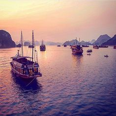 Witness a magical sunset on a junk boat in Halong Bay? Check. Tag your first mates! Photo by @samantha_t. Thanks for tagging #travelzoo! #travelbucketlist #HalongBay #sunset #Vietnam