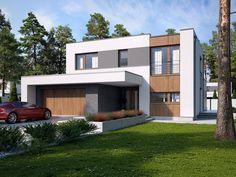 DOM.PL™ - Projekt domu TP Mikado CE - DOM TP1-83 - gotowy koszt budowy Modern Architecture House, Modern House Design, Architecture Design, Exterior Design, Interior And Exterior, House Deck, Dream House Plans, Design Case, Rio 2
