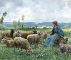 "Dupré, Julien - Shepherdess and Sheep    1851-1910 French   Shepherdess and Sheep   Signed ""Julien Dupré"" (lower left) Oil on canvas"