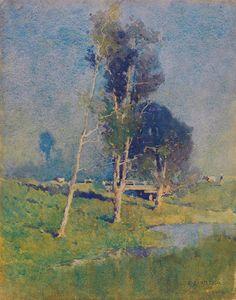 Jesse Jewhurst Hilder (1881 — 1916, Australia) Landscape near Carlingford. 1910…