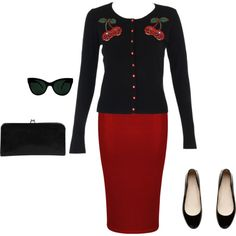 """""""simple rockabilly"""" by bettielacrocker on Polyvore I love this outfit, but without cherries."""