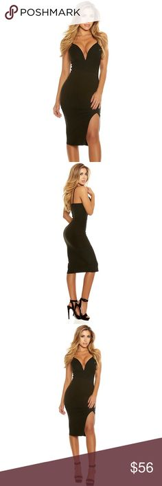 Black Deep V Neck Midi Dress #609-BS Be sweet, yet sexy at your next big event with our Black Deep V Neck Midi Dress. It's V-wire neckline may reveal more than just a beautiful heart. Sleeveless midi dress, V-wire neckline, thigh slit, polyester/spandex blend. Measurements: Bust 32-34, Waist 24-26, Hip 34-36. Price is firm! Forplay Dresses Midi