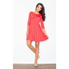 FIGL Coral 3/4 Sleeve Flared Dress ($49) ❤ liked on Polyvore featuring dresses, coral 3/4 sleeve dress, 3/4 length sleeve dresses, white dress, three quarter sleeve dress and white flared dress