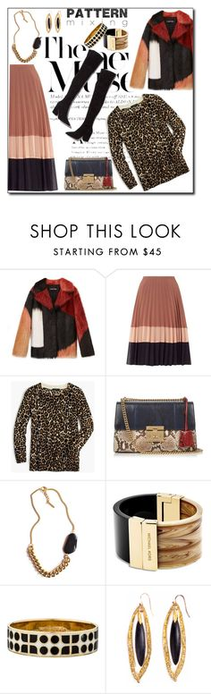 """Pattern Mixing Stripe Skirt"" by honkytonkdancer ❤ liked on Polyvore featuring J.Crew, Loeffler Randall, Gucci, Tilly Doro, Michael Kors, Kate Spade, Alexis Bittar, LeopardPrint, OverTheKneeBoots and patterncoat"